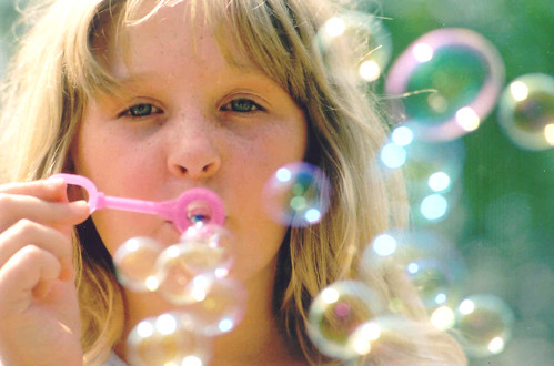 Kathryn blowing bubbles
