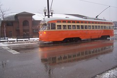 Reflection in melting snow (streetcarbrad) Tags: snow wisconsin trolley ttc streetcar kenosha pcc 4615