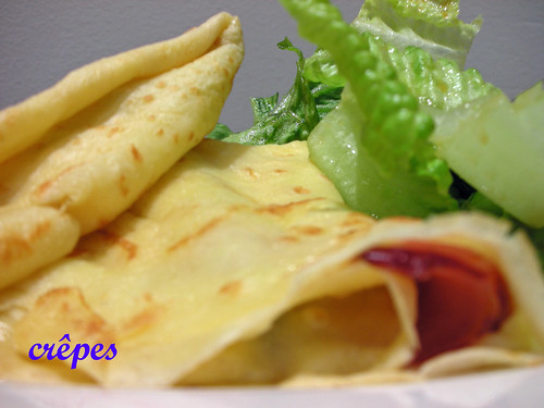 crepes with turkey, cheese and asparagus