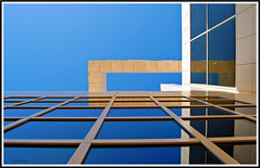 Squared away... (Julian E...) Tags: blue sky urban glass architecture losangeles searchthebest angle angles lookingup frame getty richardmeier meier superaplus aplusphoto anotherlunchbreakshot thesquaresideofmeier
