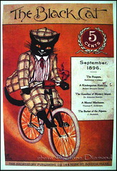 'the black cat' - vintage poster (Jane (on break)) Tags: orange black cute bike vintage feline chat jane antique 1800s kitty diamond cutecat 1900s dapper theblackcat dashing 1896 5cents catart dressedcat boaa vintageposter plaidsuit theblackcatmagazine blackcatposter catridingbicycle plaidcaphat shortstorymagazine artnouveaufont vintagemagazinedesign anthrocat