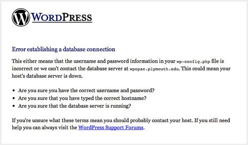 WordPress DB Connection Problem