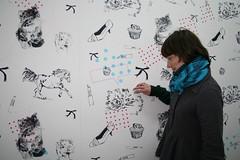 pettin' the kitty (breanne.) Tags: wallpaper mfa exhibition glowinthedark installation silkscreen printmaking risd mfathesis bestfwend