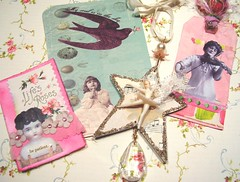 Sweet package of gifties from my lovely blogland friend Heather Bluhm! (holiday_jenny) Tags: pink blue bird art atc collage glitter altered gold photo ballerina postcards eggs porcelaindoll danglie heatherbluhm