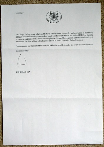 The second page of the letter from HM Treasury signed by… Oh my word!