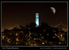Coit Tower Moonrise (jimgoldstein) Tags: sanfrancisco california moon black night photo cityscape landmark icon photograph moonrise coittower moonlight telegraphhill lunar blueribbonwinner supershot abigfave jmggalleries anawesomeshot jimmgoldstein diamondclassphotographer flickrdiamond blackribbonbeauty