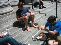Cal makes a toeburger from Dunstan's foot (adactio) Tags: sanfrancisco flickr calhenderson iamcal dunstanorchard flickr:user=bees flickr:user=dunstan toeburger flickr:nsid=12675662n00 flickr:nsid=12037949754n01