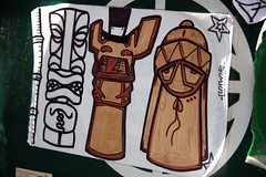 tiki time (damonabnormal) Tags: street urban art philadelphia graffiti stickerart 33 label stickers may tags labels slap 07 mousse 2007 slaps uwp philadelphiastickers philadelphiastreetart philadelphiagraffiti stickerartists philadelphiaartist