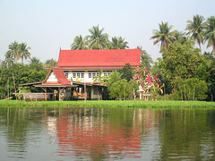 house on the Tha Chin river (dogsbody) Tags: thailand thachin river house notes spirithouse
