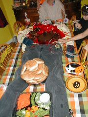 easy Halloween party food tip: add a body to the table!