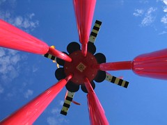 Looking up at the red thing (jeco) Tags: oct photoblog 2004 red bluesky abstract kosmicaperture horizontal straightup views lookingup faved topv111