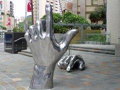 Reaching for the Sky (Cyron) Tags: sculpture 2004 geotagged photo hands australia brisbane queensland cyron auspctagged geolat274658 geolon1530302