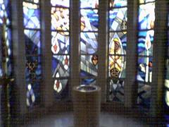 Chapel (Gus Dahlberg) Tags: cameraphone church chapel baptismal font stainedglass columbus