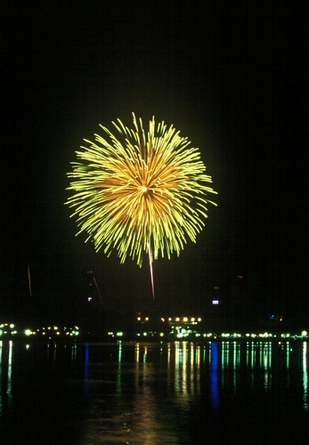 Yellow and Green Fireworks