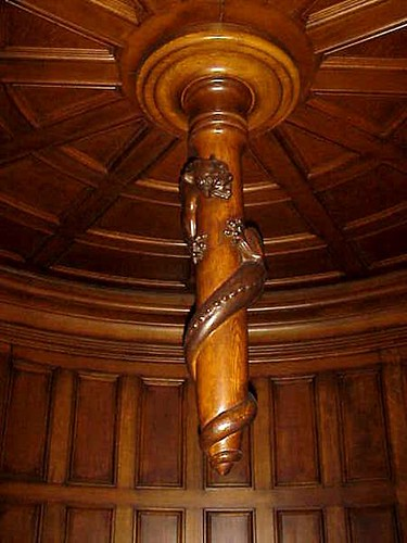 This carved spindle is centered in the ceiling of the turret at Craigdarroch Castle