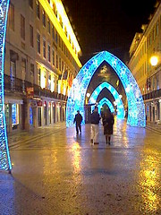 xmas lights 09 (GatheringZero) Tags: xmas blue festive arch lisbon arches cobbled christmaslights cobble festivity bluelight bluelights cobbledstreet