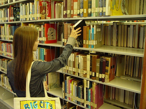 San Diego City College Learning Resources Center -- retrieve a book -- featuring kali
