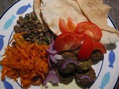 Falafel and salads (micon) Tags: food cooking meals organic falafel carrots bread lentils salad vegetarian tomato onion garlic