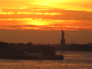 Susnset statue of Liberty