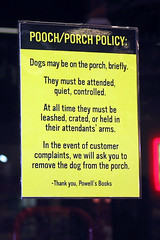 Porch/Pooch Policy at Powells