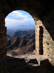 View from Great Wall watchtower (Lil [Kristen Elsby]) Tags: china mountains window landscape topf75 ruins asia arch view bricks greatwall archway glimpse topv3333 greatwallofchina