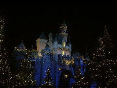 Disneyland Castle lit up by the Christmas Lights