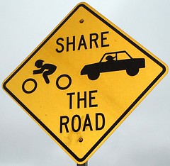 Share the Road (Hey Paul) Tags: road bike sign yellow interestingness stickfiguresinperil pennstate commuter roadsign statecollege psu roadrage