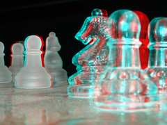 3D Chess (chrismaverick) Tags: glass 3d chess anaglyph explore knight pawn knickknack interestingness108 123bw cmdotcomz