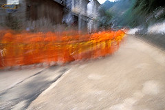 Monks, Luang Prabang, Laos (sam b-r) Tags: film walking religion velvia monks laos sambrimages