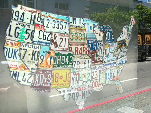 Country Map of the United States made up of License Plates