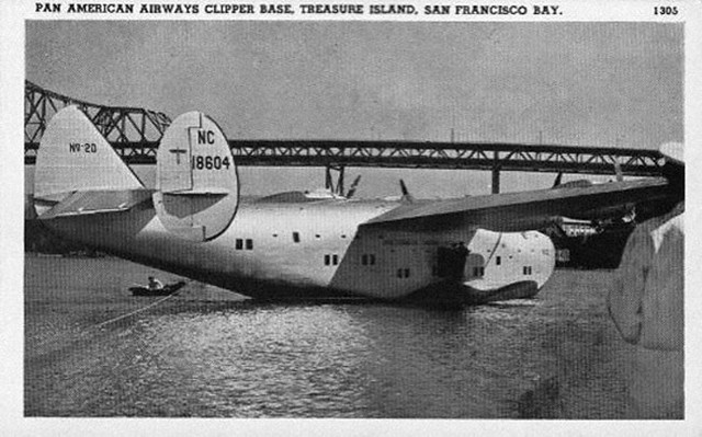 Postcard of a Pan Am Clipper at Treasure Island, circa 1939