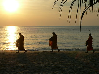 monks and sunset