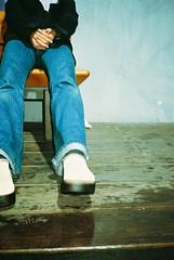 a girl (michibanban) Tags: portrait girl topv111 japan bench legs alt jeans selected osaka psfk mycooljeans m20v4