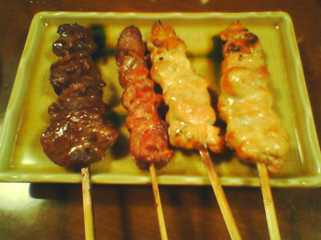 harami, sunagimo and two kubi (beef, gizzard and chicken neck)