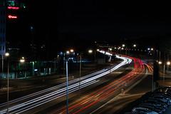 Where dey goin? (Rasmus Ink) Tags: longexposure lighttrail light red car highway city citylights