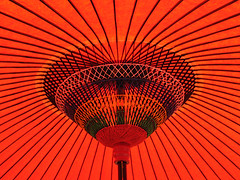 Red umbrella (Lil [Kristen Elsby]) Tags: red lines japan umbrella kyoto asia pattern traditional spokes symmetry  topv11111 kansai topf250  eastasia kinki
