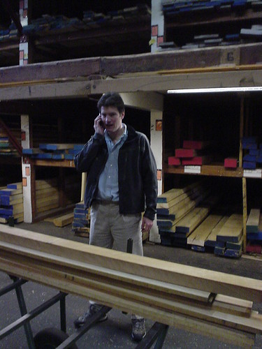 Alex at the lumber yard, talking to Europe (old meets new)