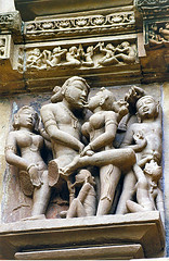 Erotic carving, Khajuraho - by Dey