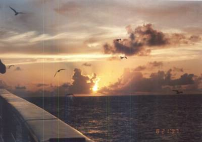 sunset off the starboard bow