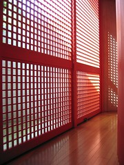 Water Temple (ellen's attic) Tags: light sunset shadow red topv111 japan architecture square temple grid wooden topv333 kobe  lightandshadow tadaoando ando
