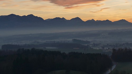 Central Switzerland Mountains Panoramic View at sunset
