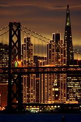 Twilight Wanes (vonvonvon) Tags: sanfrancisco california sunset skyline lights skyscrapers baybridge embarcadero transamerica