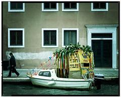 Sukkah on Boat in Venice