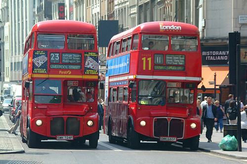 Two double-decker Routemaster buses, London