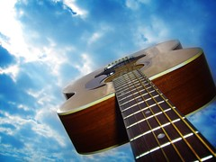 Fly My Guitar (The Rocketeer) Tags: guitar sky fly blue airborne flying wow alvarez govi acoustic lomoized
