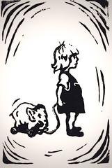 Emily 'mint (Ughman) Tags: josh joshua hardaker toronto ontario canada picture pic image graphic design illustration black white pen ink woodblock linocut print greeting card birthday girl toy elephant 2005
