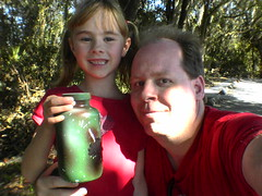 Ashlyn's first geocache (Lee Bennett) Tags: woods hobby geocache gps find hunt