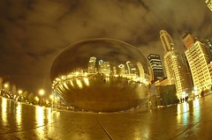 Cloudgate (candersonclick) Tags: cloudgate bean milleniumpark chicago winter nightshots ambientlight longexposure sky fisheye wideangle fujipress800 millenniumpark