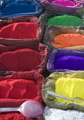 A rainbow of colours (Dey) Tags: pink blue nepal red orange colors beautiful yellow painting interestingness asia paint colours purple market loveit kathmandu pigment tikka dyes pashupatinath catchycolorsrainbow pashputinath saarc