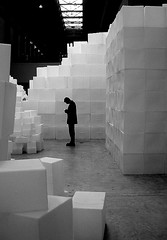 in the midst (incidental music) Tags: man rachael london art wall still december fuji tate tatemodern whiteread boxes cubes introspective autobiography t10 rachaelwhiteread